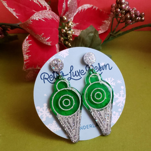 Holiday Small Mod Green Bauble Earrings