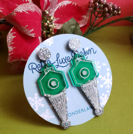 Holiday Small Deco Green Bauble Earrings