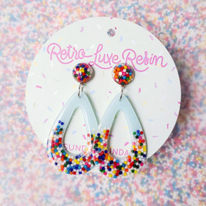 Sundae Funday Tear Drop Hoops in Cotton Candy Cream