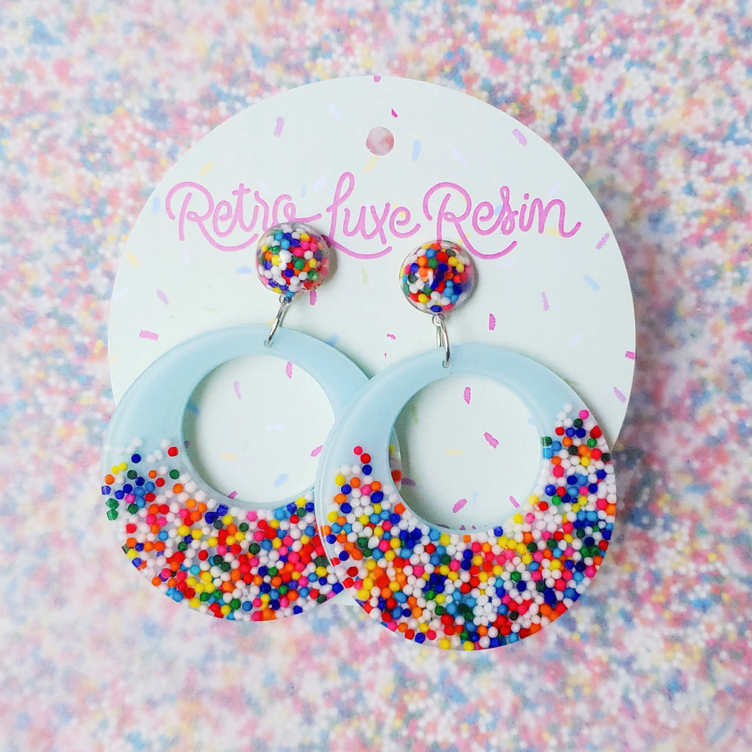 Sundae Funday Smooth Drop Hoops in Cotton Candy Cream