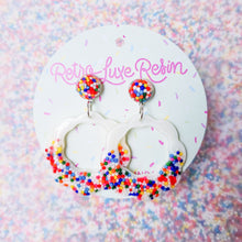 Load image into Gallery viewer, Sundae Funday Scalloped Drop Hoops in Vanilla Cream