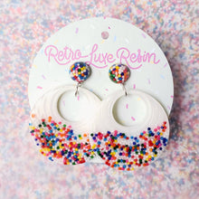 Load image into Gallery viewer, Sundae Funday Retro Textured Drop Hoops in Vanilla Cream