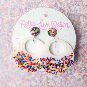 Sundae Funday Retro Textured Drop Hoops in Vanilla Cream