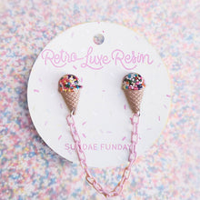 Load image into Gallery viewer, Retro Luxe Resin I Love Ice Cream Collar Clips