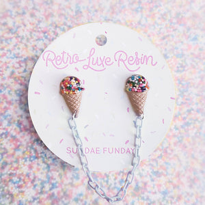 Retro Luxe Resin I Love Ice Cream Collar Clips