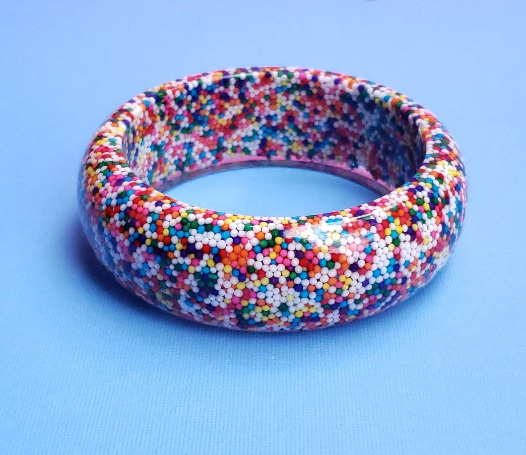 Sundae Funday Thick Resin Rainbow Sprinkle Bangle
