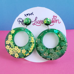 Green Floral Jelly Hoop Earrings