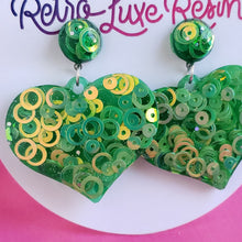 Load image into Gallery viewer, Green Disco Jelly Medium Heart Earrings