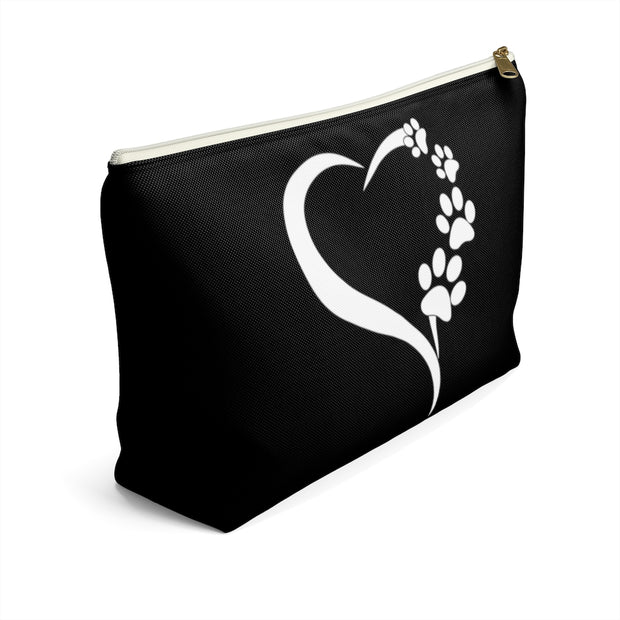 Heart with Paw Prints Black Accessory Pouch w T-bottom