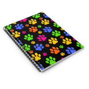 Colorful Paws Prints Black Spiral Notebook - Ruled Line.