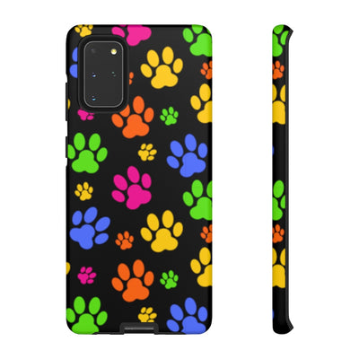 Colorful Paws on Black Tough Case.