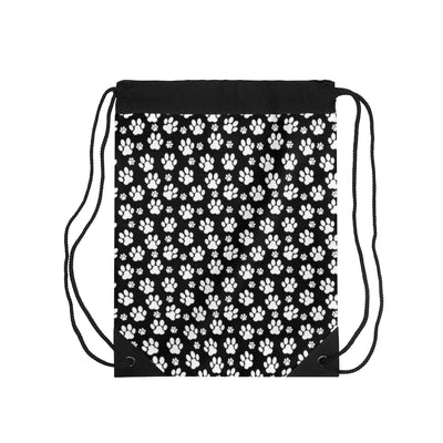 Black Drawstring Bag with White Paw Prints.