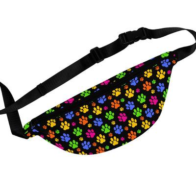 Colorful Paw Prints Fanny Pack (Black).
