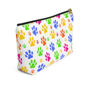 Colorful Paw Prints Accessory Pouch w T-bottom