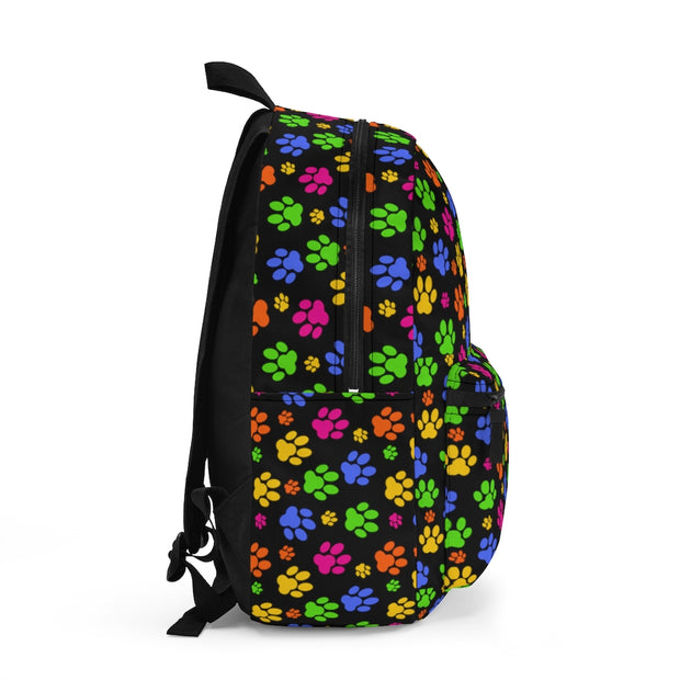 Colorful Paw Prints, Black Backpack (Made in USA)