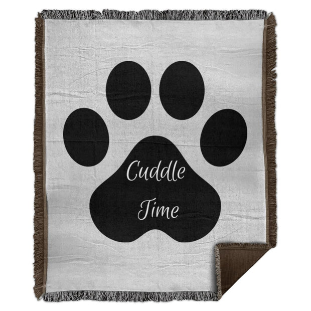 Cuddle Time in pawprint (1) WB56 Woven Blanket - 50x60.