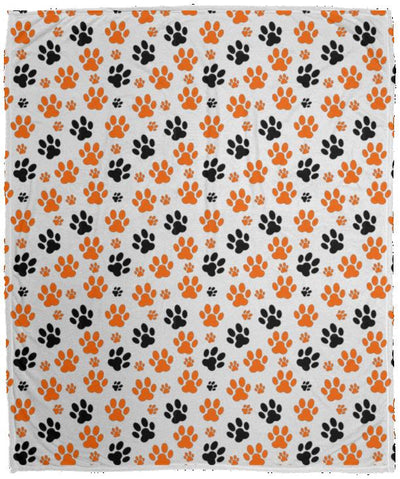 Bigger Black & Orange paws VPM Cozy Plush Fleece Blanket - 50x60.