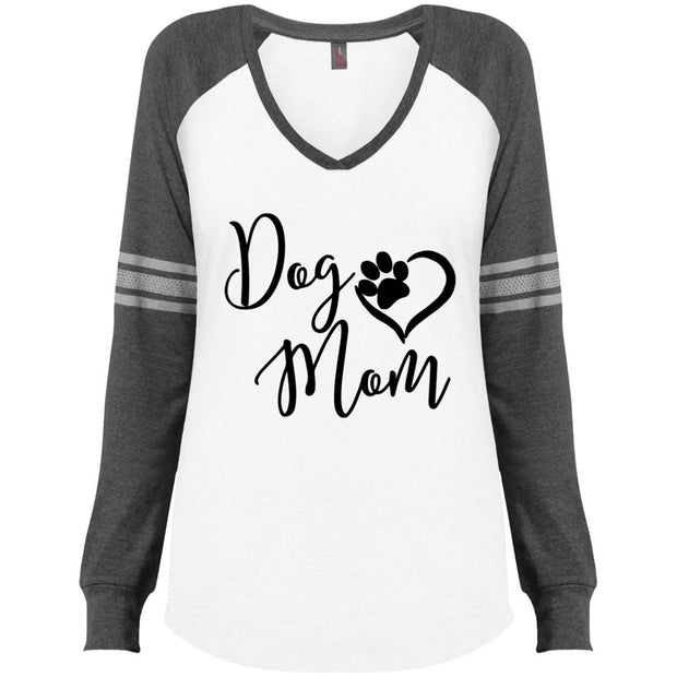 dog mom v2 DM477 Ladies' Game LS V-Neck T-Shirt.