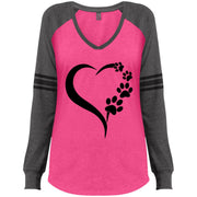 paws-heart - black DM477 Ladies' Game LS V-Neck T-Shirt.