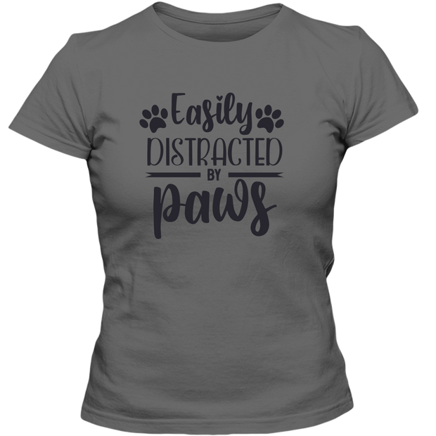 Easily Distracted by Paws Adult Ladies Classic Tee