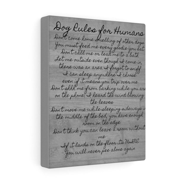 Dog Rules for Humans Canvas.