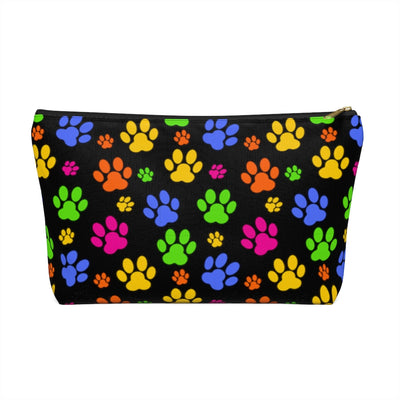 Colorful Paw Prints Black Accessory Pouch w T-bottom