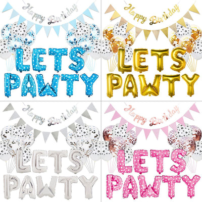 "23pcs/""Let's Pawty"" Balloons Dog Party Decoration Kit."