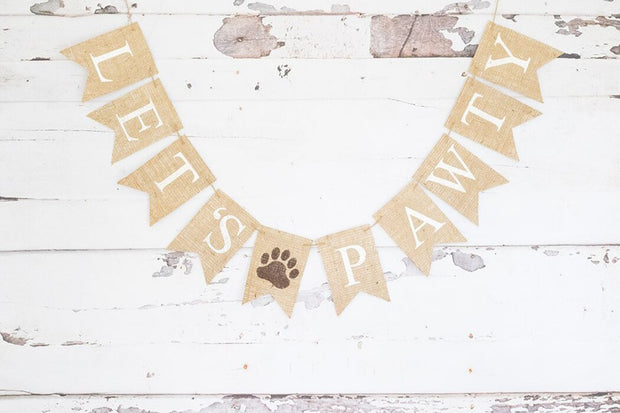 Fashion Wall Hanging Burlap Banner LET'S PAWTY.