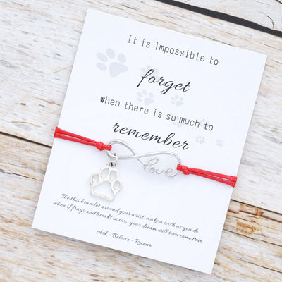 Paw Infinity Love Remembrance Dog Paw Memorial Bracelet Women.