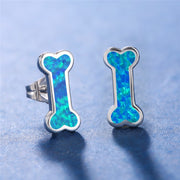 Cute Zinc Alloy Blue Imitation Fire Opal Small Dog Bone Shape Stud Earrings.