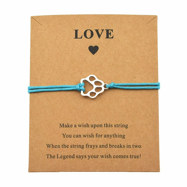 Dog's Paw Prints Charm Wish Bracelets.