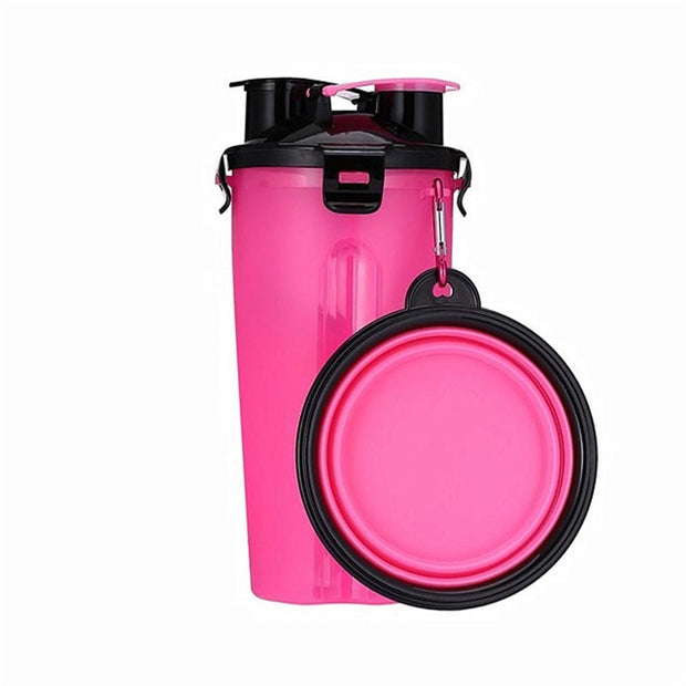 2 In 1 Pet Travel Water Bottle Foldable Dog feed Bowl.