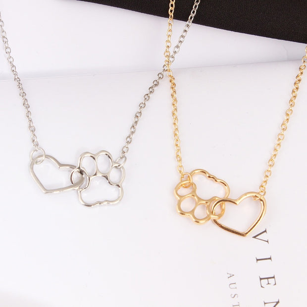 Hollow Pet Paw and Heart Necklace.