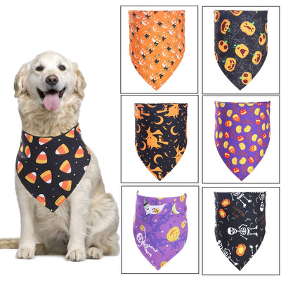 Halloween Dog Bandana Cotton Scarf.