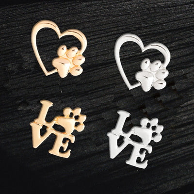 Paw love Heart Brooches.