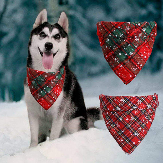 Christmas Plaid Dog Bandana.