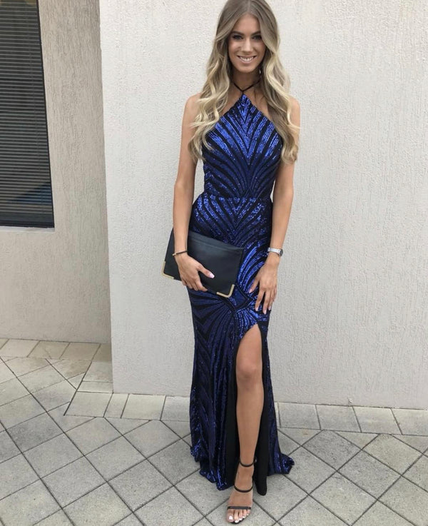 HALTER SEQUIN GOWN NAVY