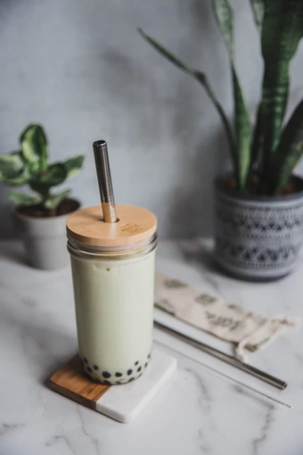 Bamboo Mason Jar Bubble Tea Set (20 oz)