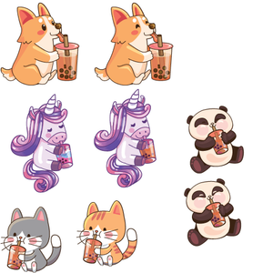Animals Drinking Boba Sticker / Hard Enamel Pin