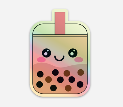 Holographic Bubble Tea Sticker