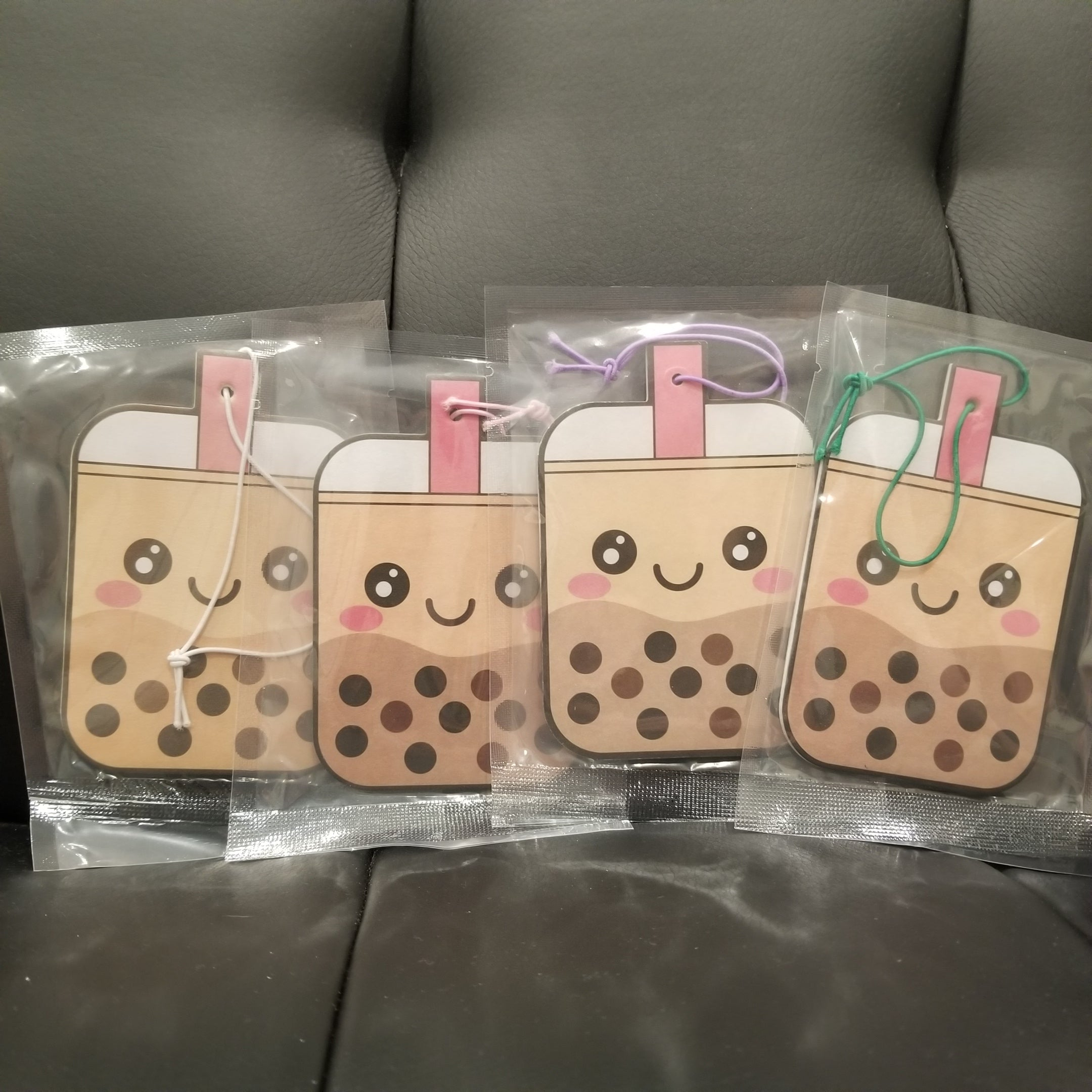 4-Flavor Boba Air Fresheners (Classic Milk Tea, Strawberry, Taro, and Honeydew)