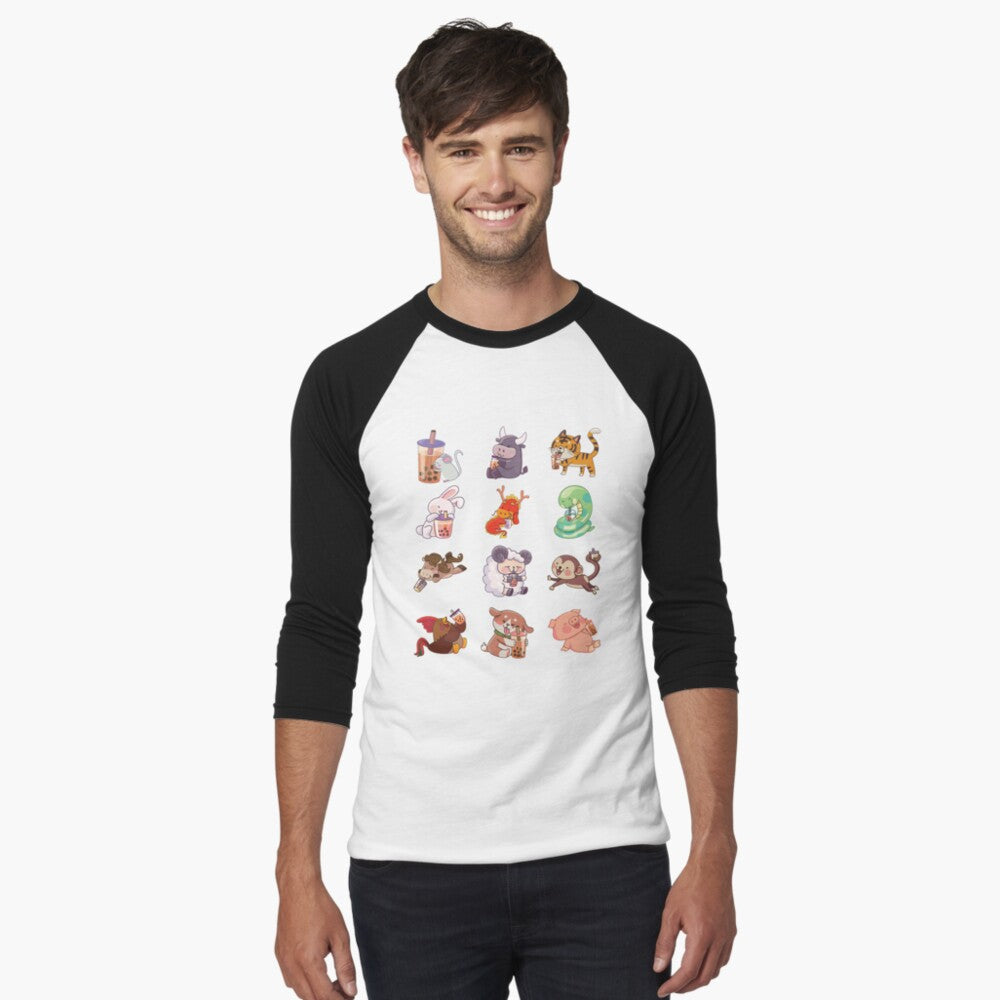 12 Chinese Zodiac Animals sipping Boba Shirts