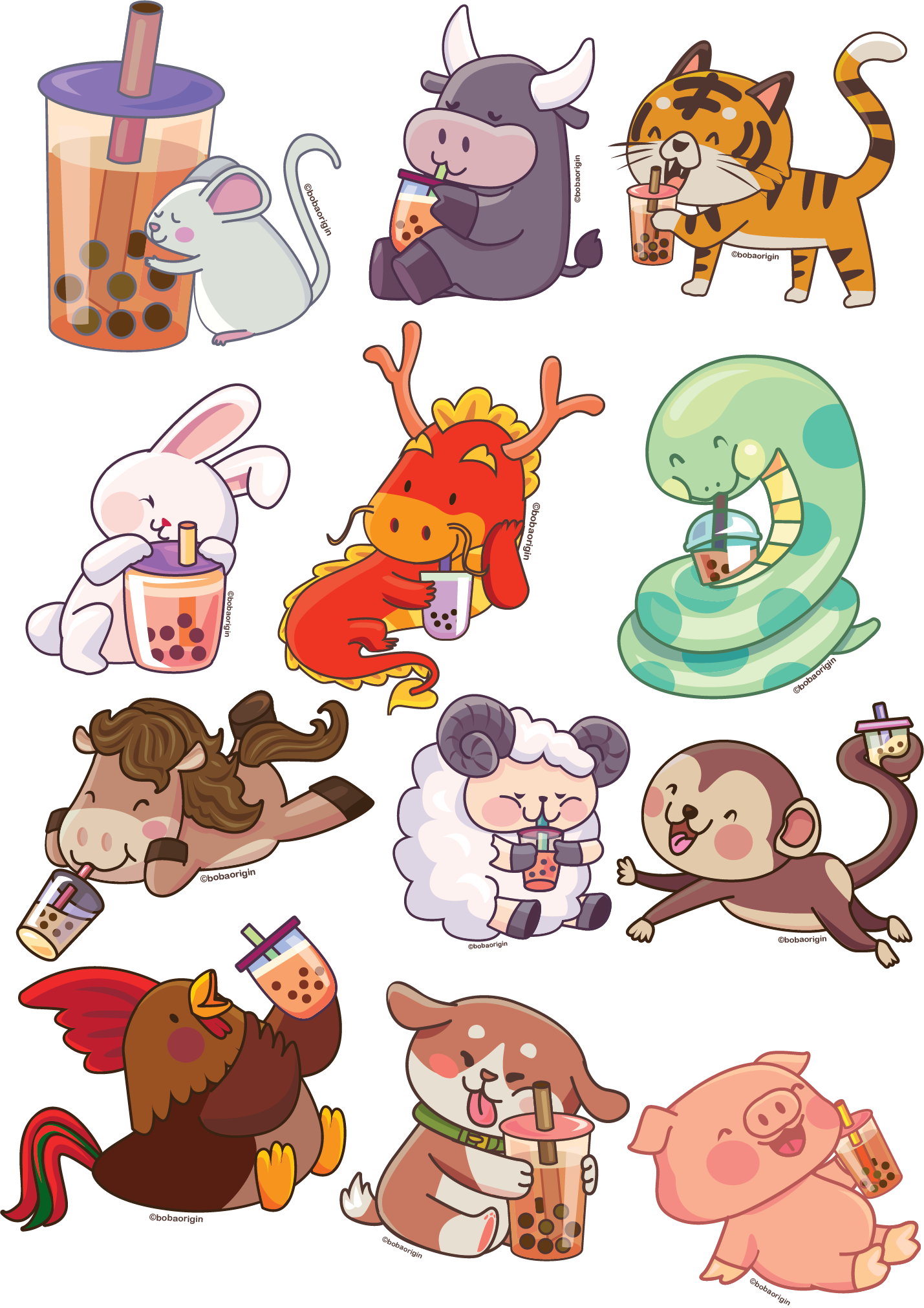 [DIGITAL DOWNLOAD - Personal Use] 12 Chinese Zodiac Animals Artwork
