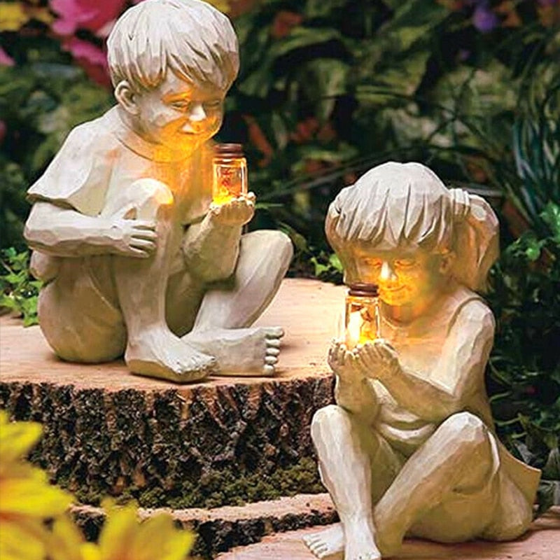 Kids with Solar Fireflies - Most adorable garden decoration!