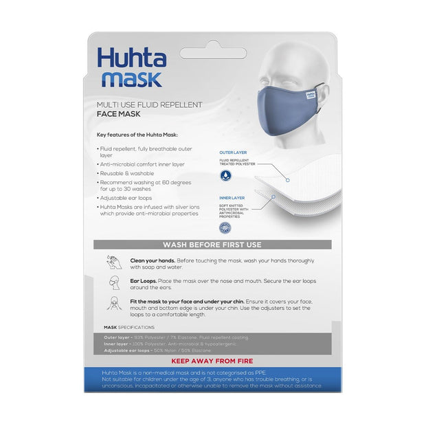 Huhta Mask Adult Face Mask in Delft Blue | Reusable face mask, Fluid repellent mask, anti-microbial mask, breathable mask online