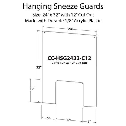 Hanging Sneeze Guard Kit - 24 in x 32 in with 12 in Cut Out - Shea Shields