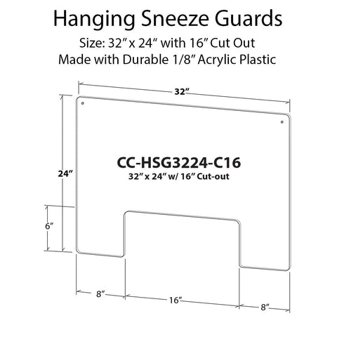 Hanging Sneeze Guard Kit - 32 in x 24 in with 16 in Cut Out - Shea Shields