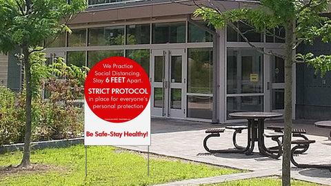 Outdoor Assurance Strict Protocol Sign - 24x32 in. Ground SIgn with Stakes - Shea Shields