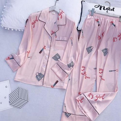 Ensemble Pyjama Satin Rose