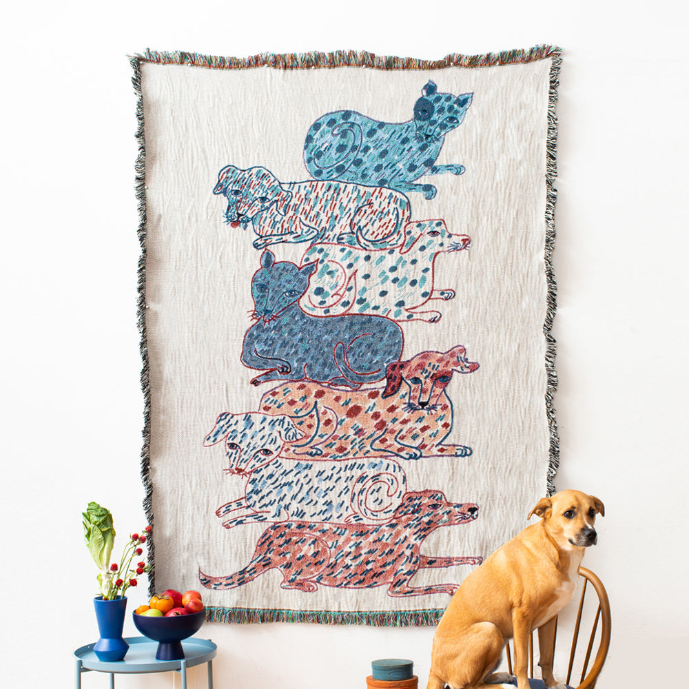 Dogs and Cats Totem Blanket-Olivia Wendel